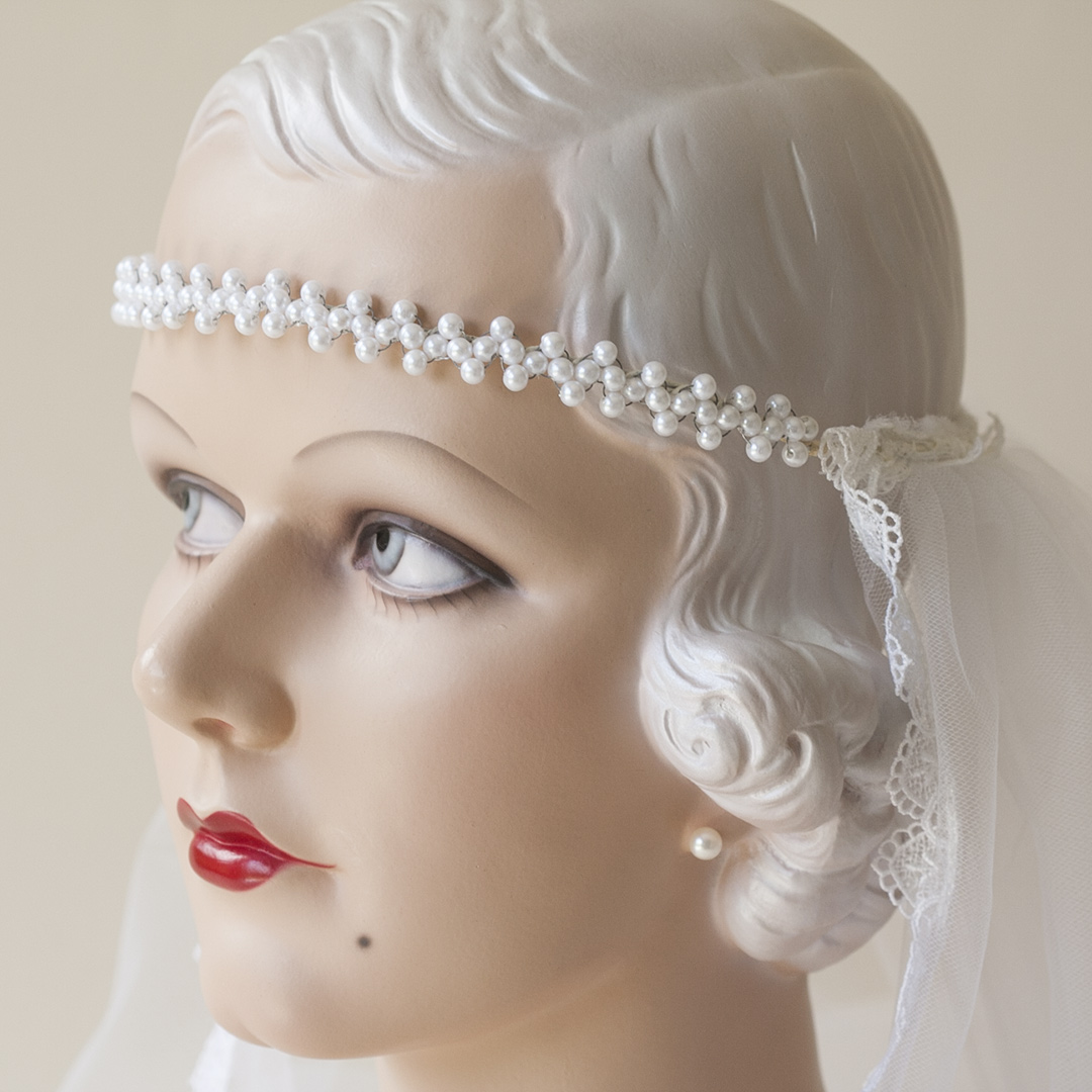 Pearl Wired Headband Arrowpoint Wedding Veil