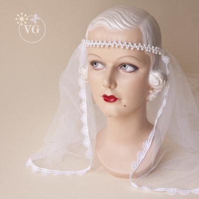 Pearl Wired Headband Arrowpoint Wedding Veil
