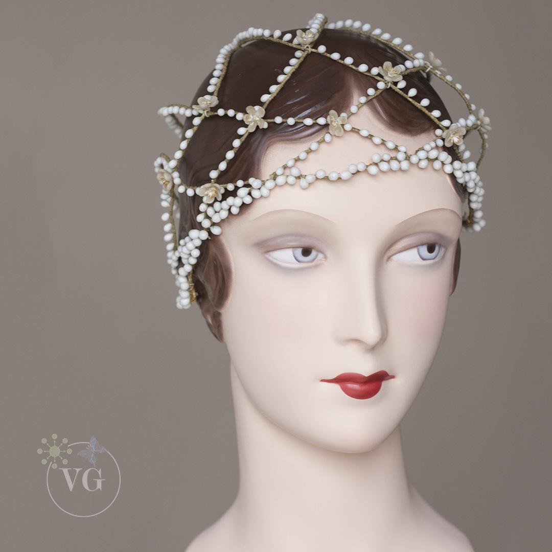 1920s vintage cloche wedding headpiece