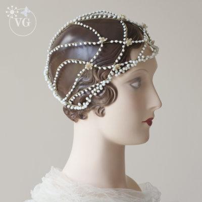 1920's Vintage Cloche Wedding Headpiece
