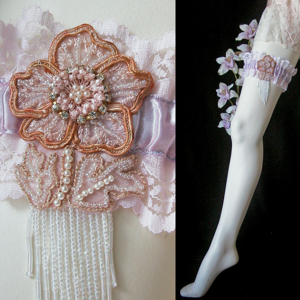 Wedding Dress Garter: Rhinestone Boudoir Satin Bridal Garter
