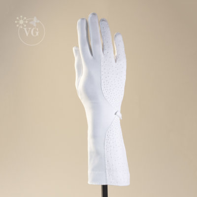 Geometric Hand Beaded White Gloves 6-Button