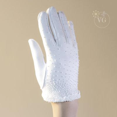 2 Button Wristlet Beaded White Shortie Gloves