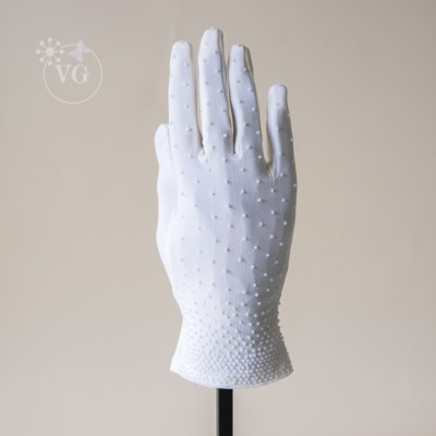 Vintage 1960s Beaded Double Knit Shortie Gloves