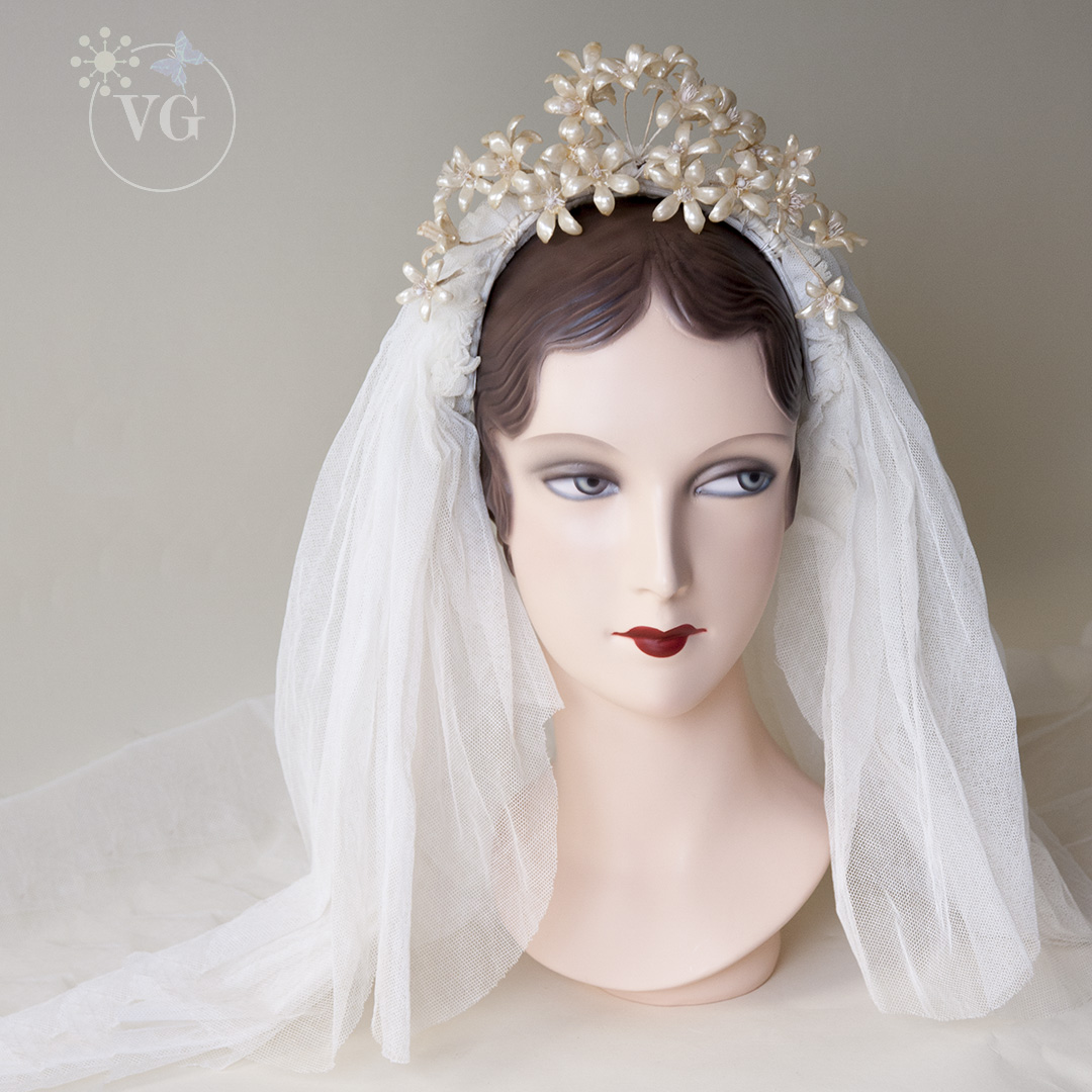 Veils And Headpieces: 1930's Starflowers Gauze Wedding Veil