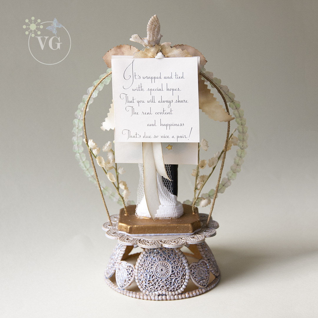 1940u0027s Wedding Cake Topper Glass Flowers