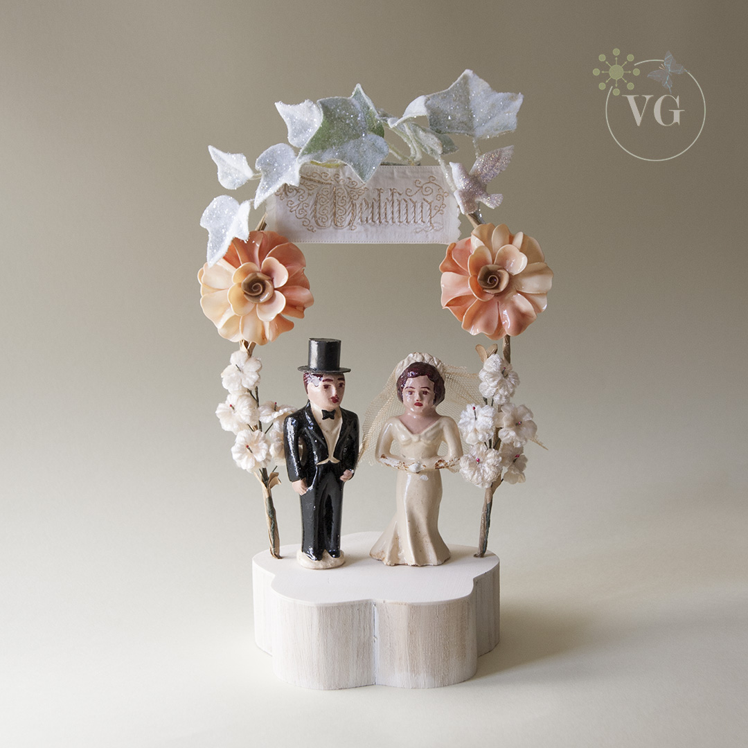 Wedding Cake Toppers Vintage: 1940s Folk Art Cake Topper Vintage Wedding