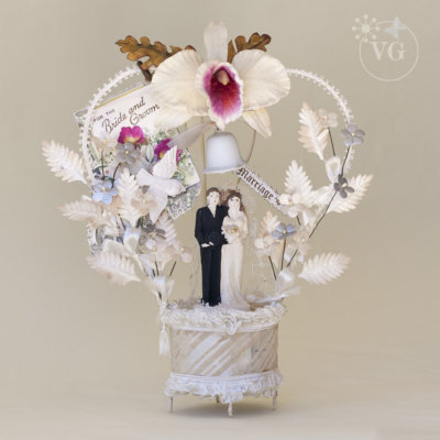 Antique Wedding Cake Topper with Orchid