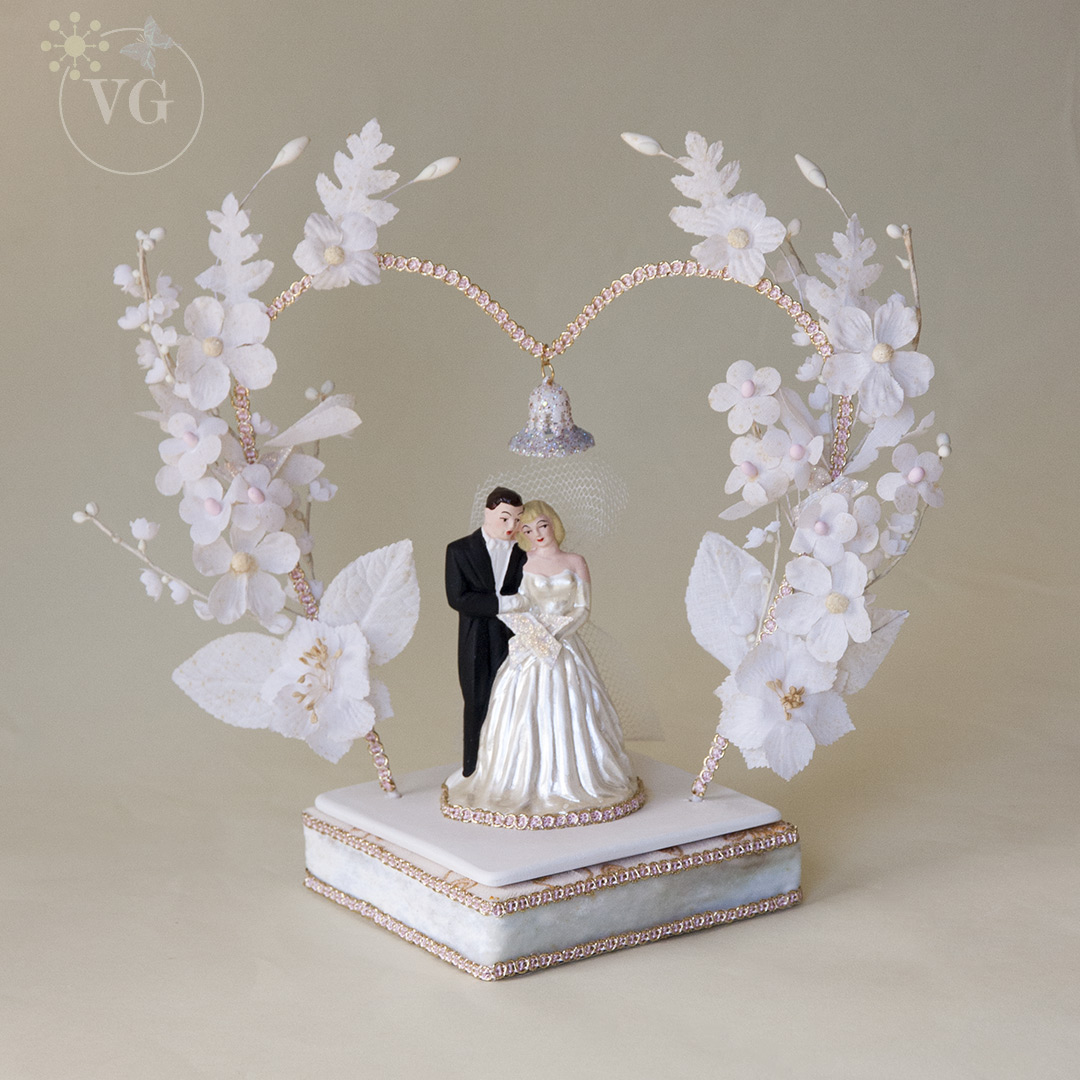 Heart Shaped 1950s Wedding Cake Topper Banner Worldofhappiness