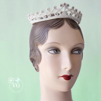 Japanned Diamante Headpiece 1940's Post War Beaded Wedding Crown