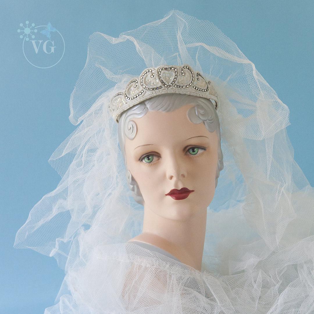 Japanned Diamante Wedding Crown Headpiece 40\'s